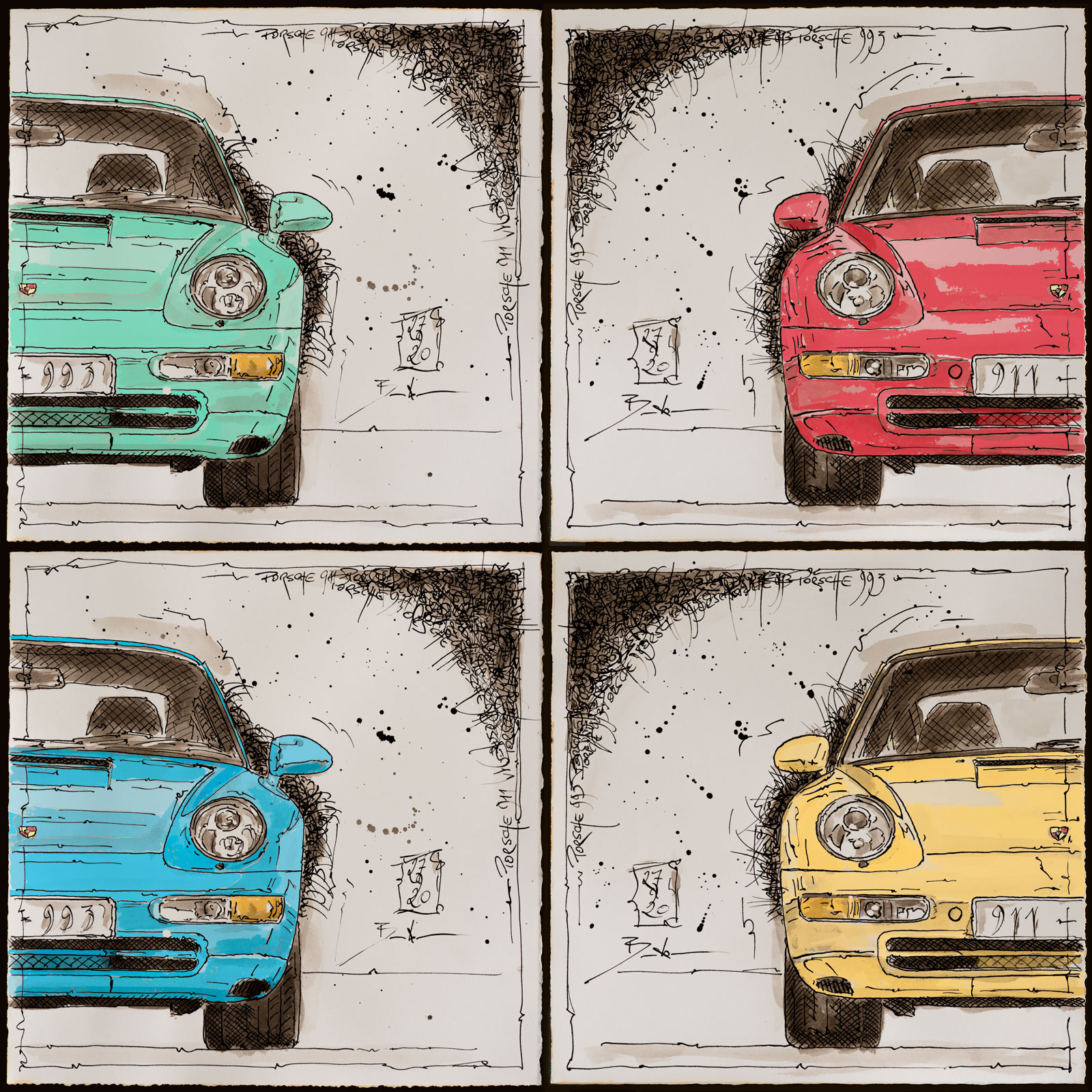 Einige neue Arbeiten im Bereich Tusche mit den dazugehörigen Künstler-Drucken (C²- und Mc2-Edition)